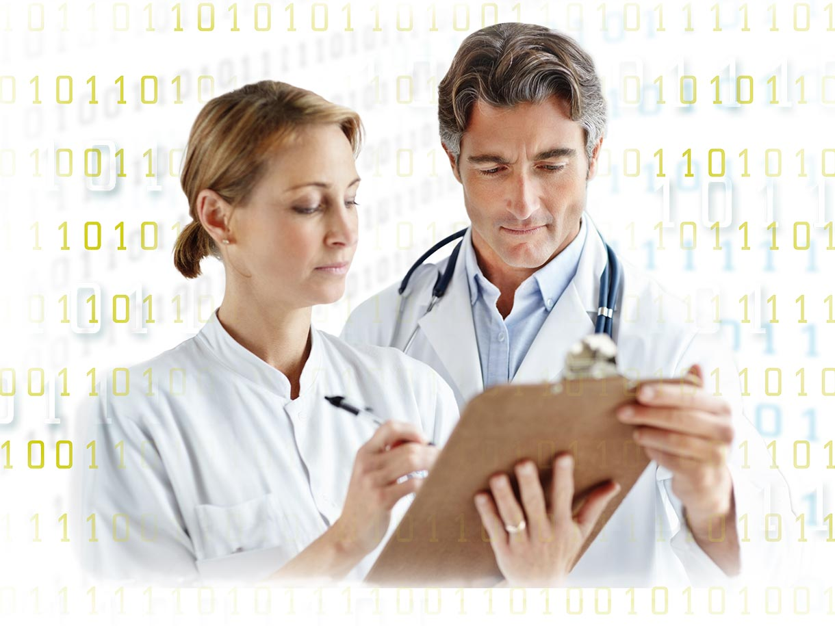 Two physicians examine survey