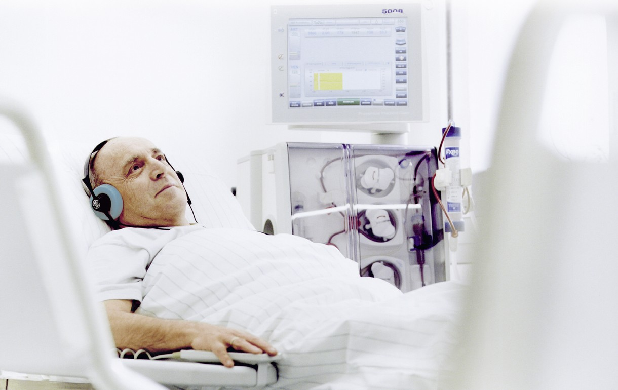 Patient during in-center dialysis